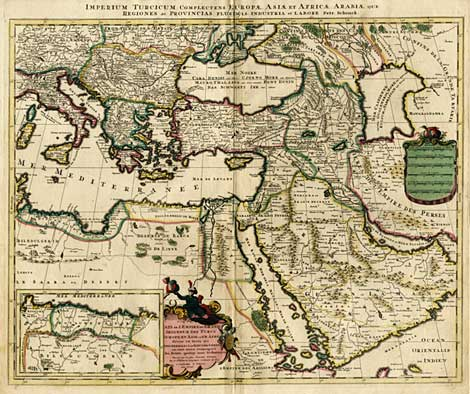 Imperium Turcicum complectens Europae, Asiae et Africae, Map of the Ottoman Empire, by P. Schenk (Amsterdam, c. 1720), 49 x 58,5 cm.